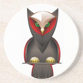 Ninja Owl in Red Green and Brown Sandstone Coaster