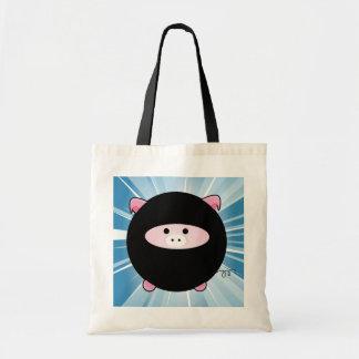 Ninja Pig on Blue Canvas Bags