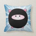 Ninja Pig on Blue Pillow