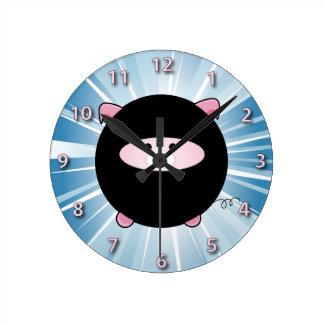 Ninja Pig on Blue Round Clock