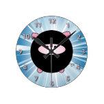 Ninja Pig on Blue Round Clocks