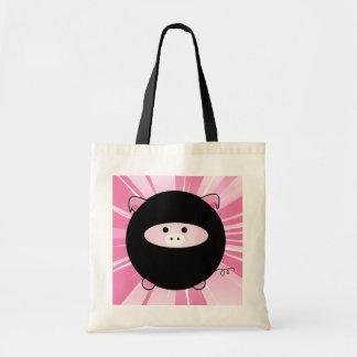 Ninja Pig on Pink Canvas Bag