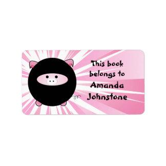 Ninja Pig on Pink Bookplate