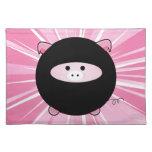 Ninja Pig on Pink Cloth Place Mat