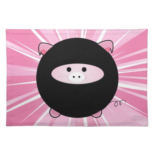 Ninja Pig on Pink Cloth Placemat
