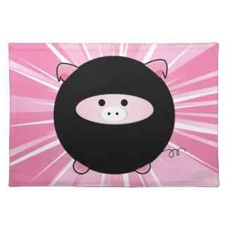 Ninja Pig on Pink Placemats