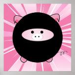 Ninja Pig on Pink Poster