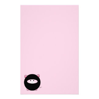 Ninja Pig on Pink Stationery