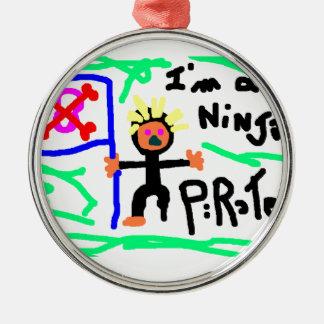 Ninja PIrate Metal Ornament