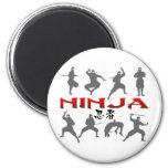 Ninja Pose Silhouette 2 Inch Round Magnet