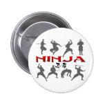 Ninja Pose Silhouette Buttons