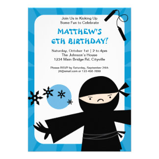 Ninja Power Blue Invitation