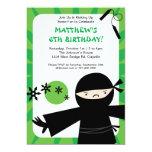 "Ninja Power Green Invitation 5"" X 7"" Invitation Card"