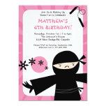 "Ninja Power Pink Invitation 5"" X 7"" Invitation Card"