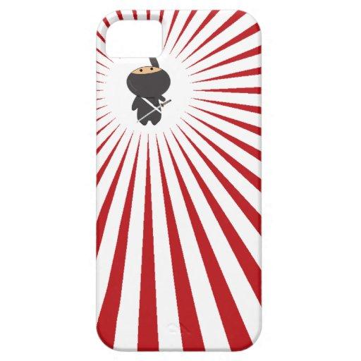 ninja que cuelga lindo con los rayos rojos funda para iPhone 5 barely there