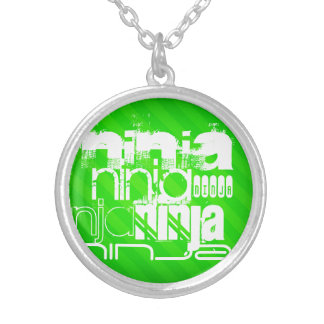 Ninja; Rayas verdes de neón Colgante Redondo