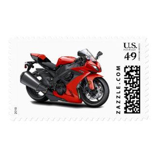 Ninja Red Bike Postage Stamp