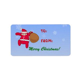 Ninja Santa Christmas labels