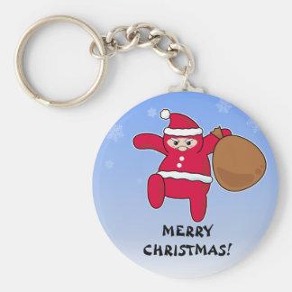 Ninja Santa? Merry Christmas! Basic Round Button Keychain