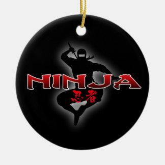 Ninja Silhouette Ceramic Ornament