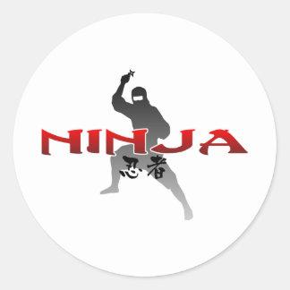 Ninja Silhouette Classic Round Sticker