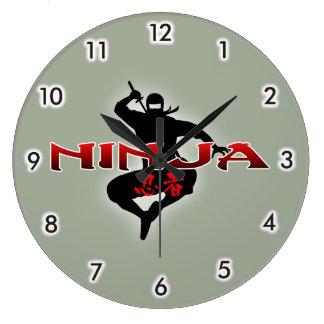 Ninja Silhouette Large Clock