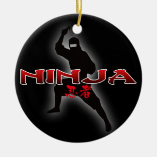 Ninja Silhouette Double-Sided Ceramic Round Christmas Ornament