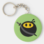 Ninja smiley face basic round button keychain