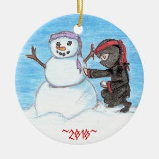 Ninja Snowman Double-Sided Ceramic Round Christmas Ornament