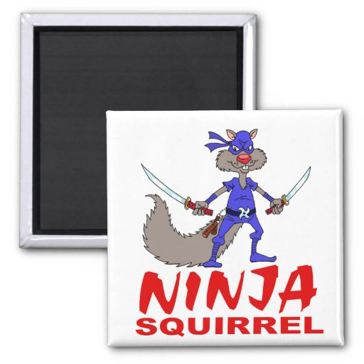 Ninja Squirrel 2 Inch Square Magnet