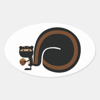 Ninja Squirrel Oval Sticker