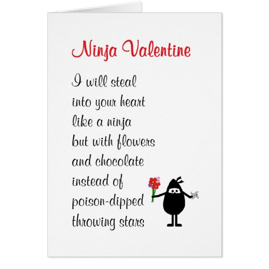 Ninja Valentine a funny Valentines poem Card – Valentine Card Poem
