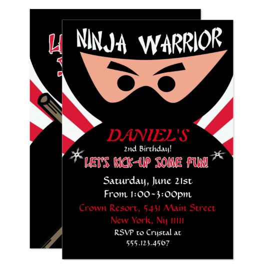 Ninja Warrior Birthday Invitation Zazzle Com