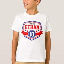 Ninja Warrior Boys Birthday Party Name & Age T-Shirt