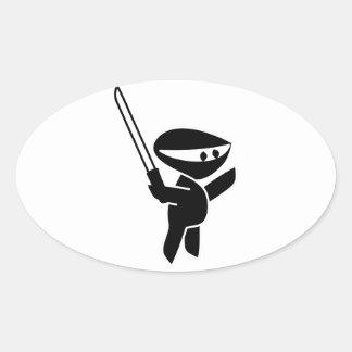 Ninja Wielding a Katana Sword Oval Sticker