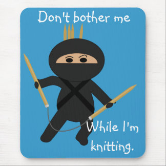 Ninja with Circular Knitting Needles Mousepad