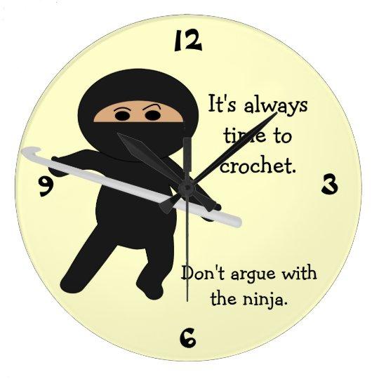 Ninja With Crochet Hook Wall Clock