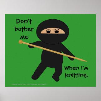 Ninja with Knitting Needle Poster