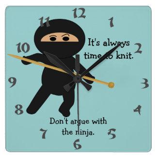 Ninja With Knitting Needle Wall Clock