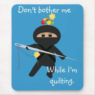 Ninja with Needle and Sewing Pins Mousepad