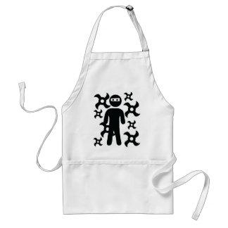 ninja with trowing stars icon adult apron