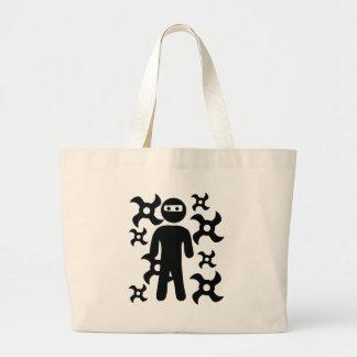ninja with trowing stars icon bag