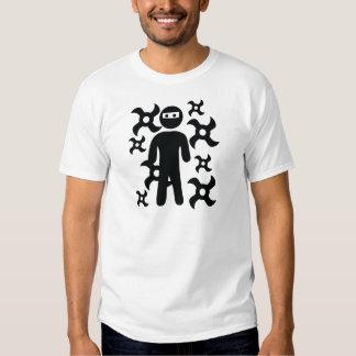 ninja with trowing stars icon shirt
