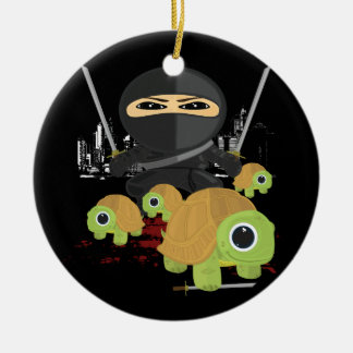 Ninja with Turtles Double-Sided Ceramic Round Christmas Ornament