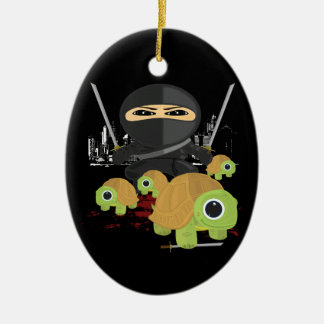 Ninja with Turtles Double-Sided Oval Ceramic Christmas Ornament
