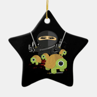 Ninja with Turtles Double-Sided Star Ceramic Christmas Ornament