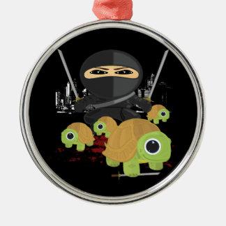 Ninja with Turtles Round Metal Christmas Ornament