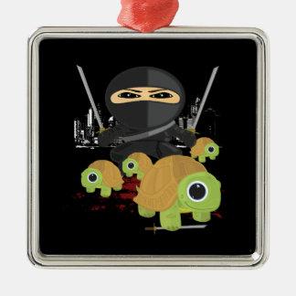 Ninja with Turtles Square Metal Christmas Ornament