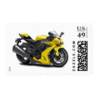 Ninja Yellow Bike Stamp