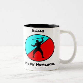 Ninjas ate my homework Two-Tone coffee mug
